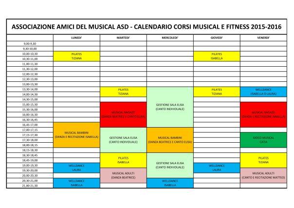Calendario settimana di prova