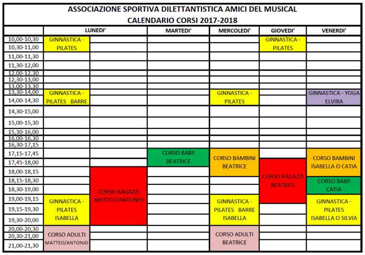 Calendario 2017-2018 II versione